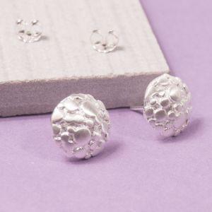 Silver Aero Moon Stud Earrings