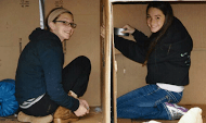 Two young Billings community members are caught in action as they are putting together their adjoining cardboard box homes. photo courtesy of Karen Beiser