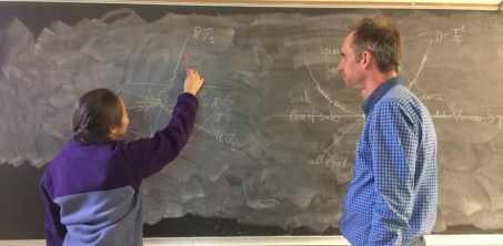 Kayla Moreno and Professor Ulrich Hoensch work on a math problem. Photo courtesy of Ayla Grandpre