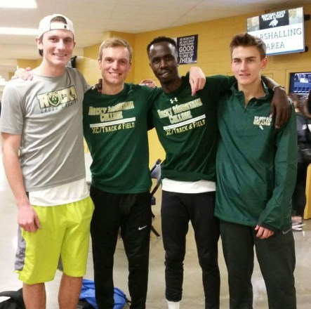 Members of Rocky Mountain College's Men's indoor track team pose after a meet. Photo courtesy of Amy Petsch.