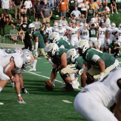 Rocky and Montana Tech lining up - September 2021 Homecoming game