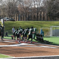 The Battlin' Bears line up in a drill during spring practice. Photo by Ean McLaughlin.