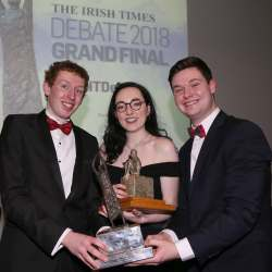PACEMAKER, BELFAST, 23/2/2018: Amy Crean, individual winner and team winners Cian Leahy and Aodhan Peelo at the Irish Times Debate in Riddell Hall, Queen's University, Belfast. PICTURE BY STEPHEN DAVISON