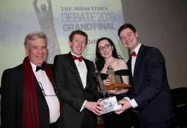 PACEMAKER, BELFAST, 23/2/2018: Amy Crean, individual winner and team winners Cian Leahy and Aodhan Peelo pictured with Professor Brent Northup, a member of the adjudicating panel, at the Irish Times Debate in Riddell Hall, Queen's University, Belfast. PICTURE BY STEPHEN DAVISON