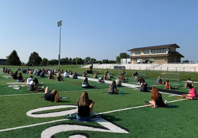 New Student Orientation on the football field Photo curtesy of  Grace Schroeder
