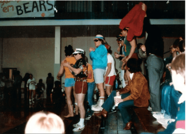 Rocky student section at the season opening women's volleyball game in 1995. The bears went onto an above .500 record of 20-8 that season.