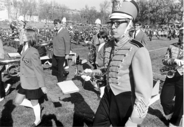 Rocky Mountain College's Marching band at a 1967 RMC home football game.