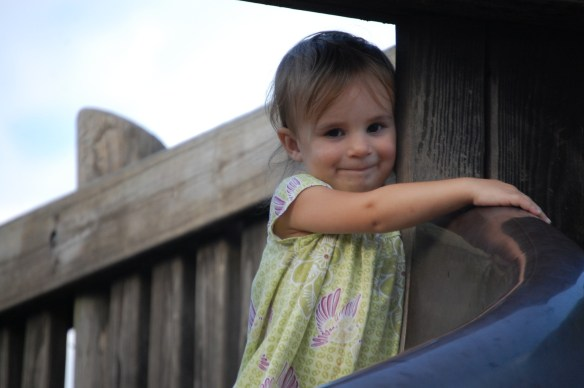Youngest granddaughter Lyla clings to one of the many wooden posts in 2014
