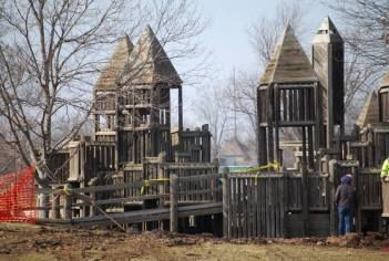 Crews work on the teardown of beloved playground
