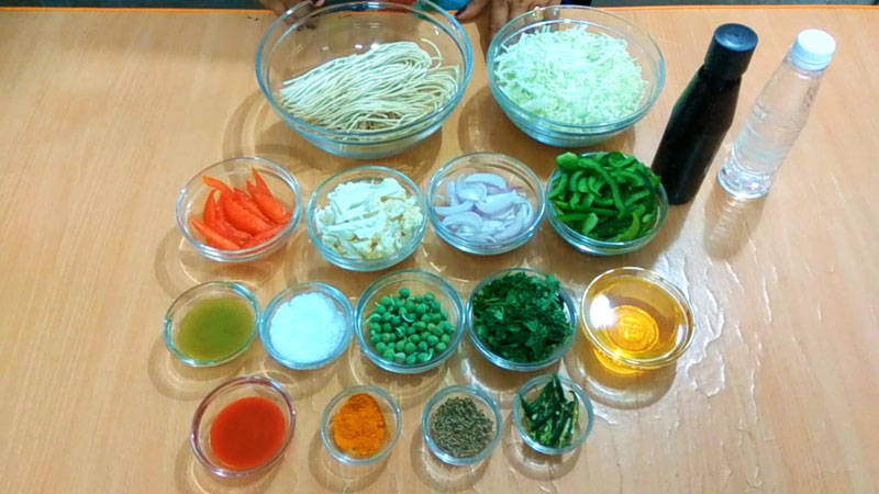 Veg noodles ingredients