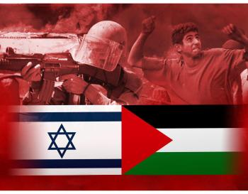 The flags of Israel and Palestine with photos of an armed Israeli soldier and an angry youth. Photo Illustration by Kurt Strazdins / MCT