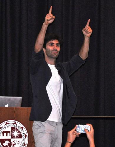 Nev Schulman, creator of the hit MTV show, Catfish, visited CSUN to share his personal and professional experiences at the Northridge Center, USU, Wednesday evening. Photo credit: Thomas Biering / Contributor