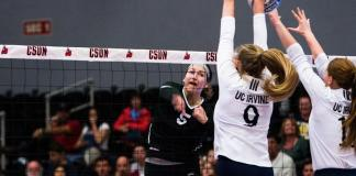 CSUN volleyball player spikes ball over net which is blocked by volleyball players from UC Irvine.