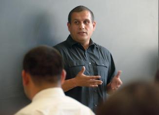 Professor Antonio lecturing.