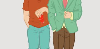 A drawn illustration of two frat students: one is dressed in a colorful suit and the other is dressed in casual clothes with sunglasses and a cup in hand.