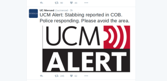 UCM Tweet reads: UCM Alert: Stabbing Reported in COB. Police responding. Please avoid the area.