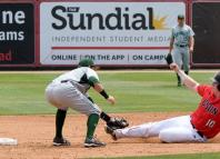 CSUN baseball athlete slides into base and gets tagged by opponent