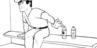 Cartoon of man choosing between two water bottles