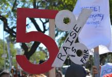 Picket sign of five percent logo