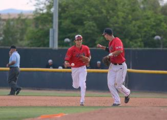 Two CSUN baseball players meet up after ending