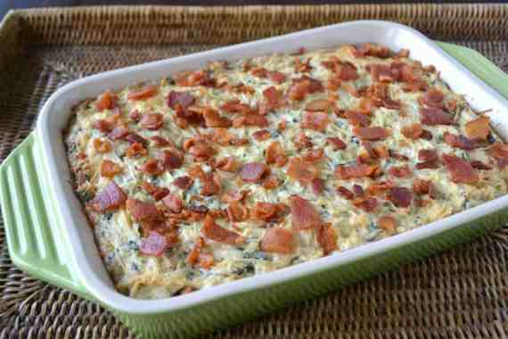 Roasted Garlic Spinach & Artichoke Dip with Bacon