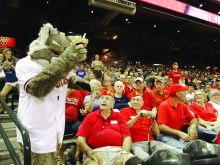East Valley marines enjoy a visit with Baxter the Bobcat.