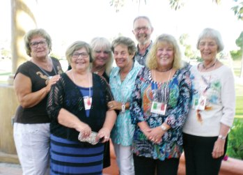 Members of the Executive Board of the Italian American Club (left to right) are Marie Szymanski, President; Carole Anne Smith, Treasurer; Linda Schwartz, President-Elect; Janet Bideaux, Programs; Michael Smith, Sergeant-at-Arms; Donna Haugland, Secretary; and Betty Tuzzolino, Programs.