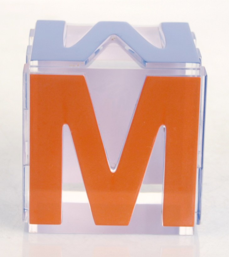 Completed lucite cube