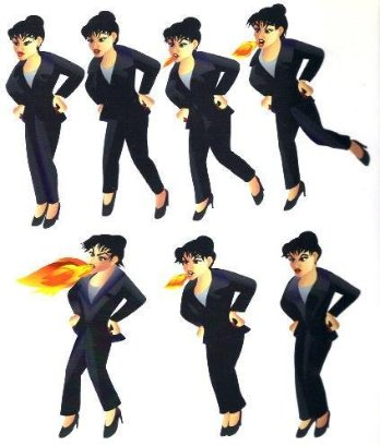 This is a series of images showing a lady with a bun in her hair and a business suite as she stomps her foot and breathes fire in an angry display.