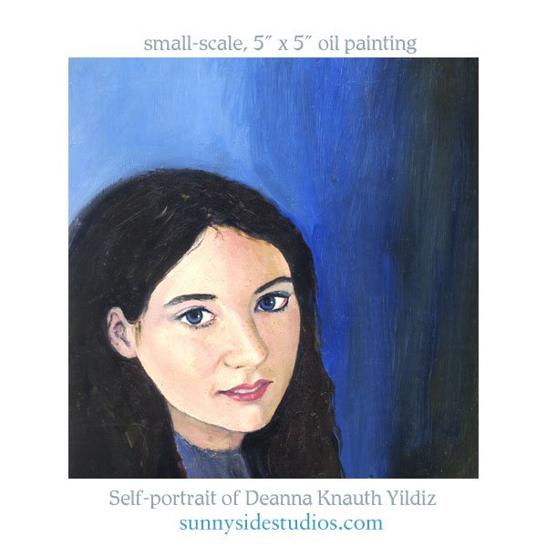 Oil painting self-portrait by Deanna C. Knauth Yildiz