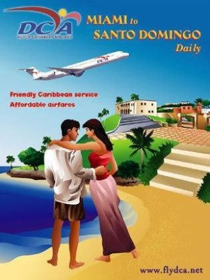 This is a graphic of a man and woman embracing on the beach in Santo Domingo. Behind them in the air is an airplane which can take you to whatever destination you choose. This poster was designed in Adobe Illustrator by the artist, Deanna Yildiz.