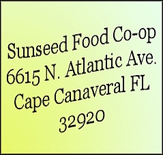 Sunseed Natural Foods Co-op address in Cape Canaveral, Florida.