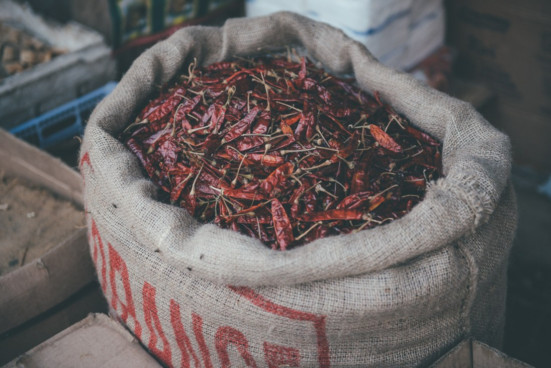 Chillis at the market in Sri Lanka
