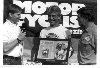 Keith receives Motorcyclist of the Year award from Motor Cyclist Magazine, 1991