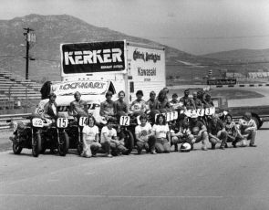 Riverside Raceway 1981. Wayne Rainey, Eddie Lawson, Jimmy Felice, Bubba Shobert, Ronnie Jones, Steve Storz, Don Shoemaker and school crew on the front straight.