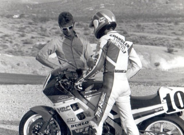1984-Starts-training-dirtracker-Doug-Chandler-in-roadracing