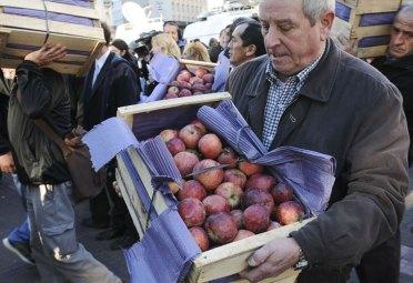 Productores del Comahue regalan fruta en Plaza de Mayo. FOTO: DyN.