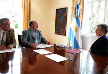 El presidente Macri, reunido con autoridades de Coninagro. FOTO: DyN.