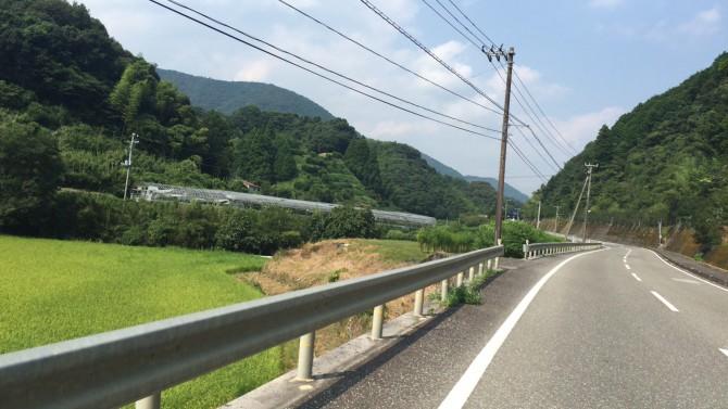 山の谷間の一本道。キレイで走りやすいです。