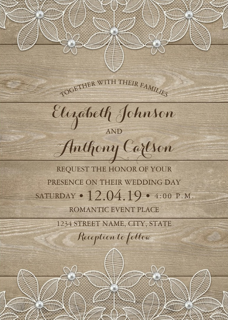 Exceptional Rustic Wood Lace Wedding Invitations Vintage Luxury Cards Lace Wedding Invitations Ideas Lace Wedding Invitations Canada wedding invitation Lace Wedding Invitations