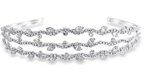 Triple Row of Crystal Leaf Gatsby Inspired Bridal Tiara Headband