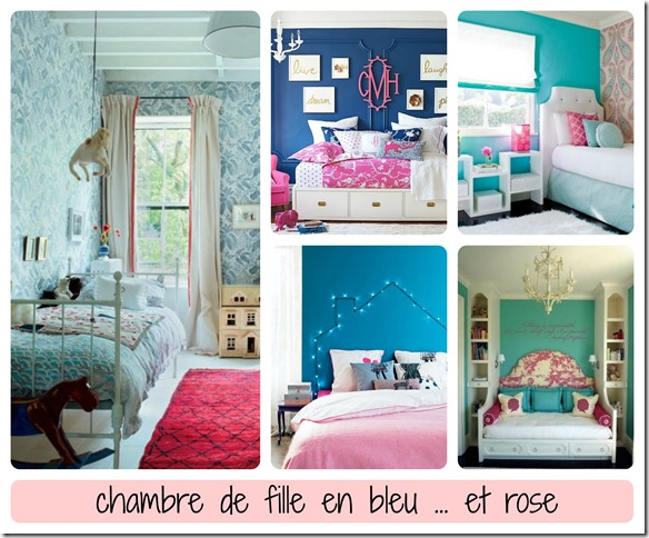 chambre fille rose et bleu meilleures images d. Black Bedroom Furniture Sets. Home Design Ideas