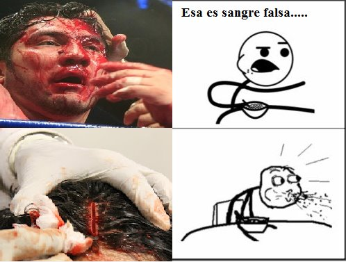 Esa es sangre falsa... - Imagen viral en las redes sociales.
