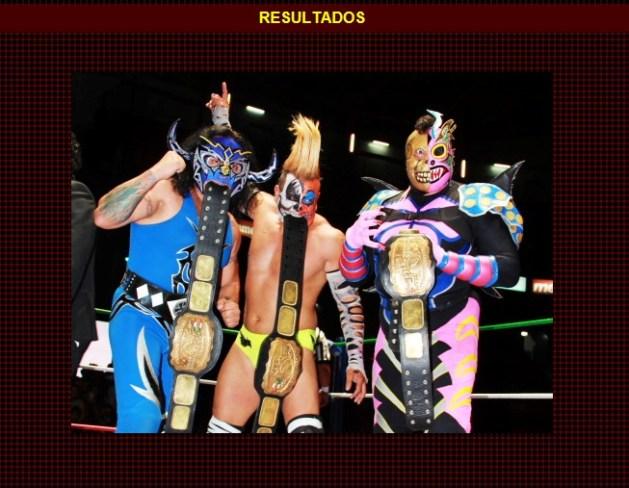 Los Invasores (Psicosis -II-, Mr. Águila y Kráneo), nuevos Campeones Nacionales de Tríos / Arena México - 16 de diciembre de 2012 / www.cmll.com