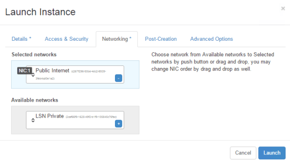 Cloud Launch Instance Networking