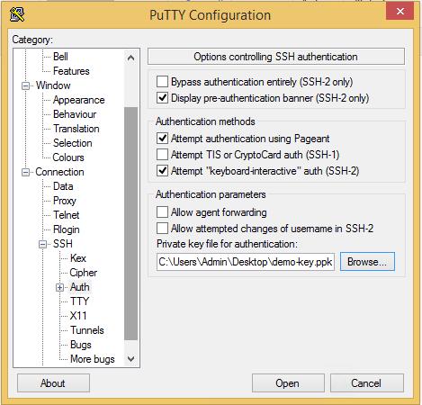 PuTTY Key Configuration