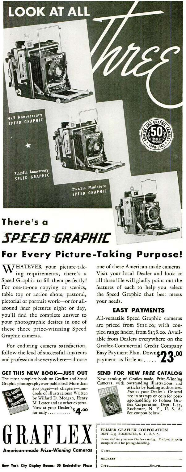 Graflex Speed Graphic 1940 Anniversary- Camera - Old Ad