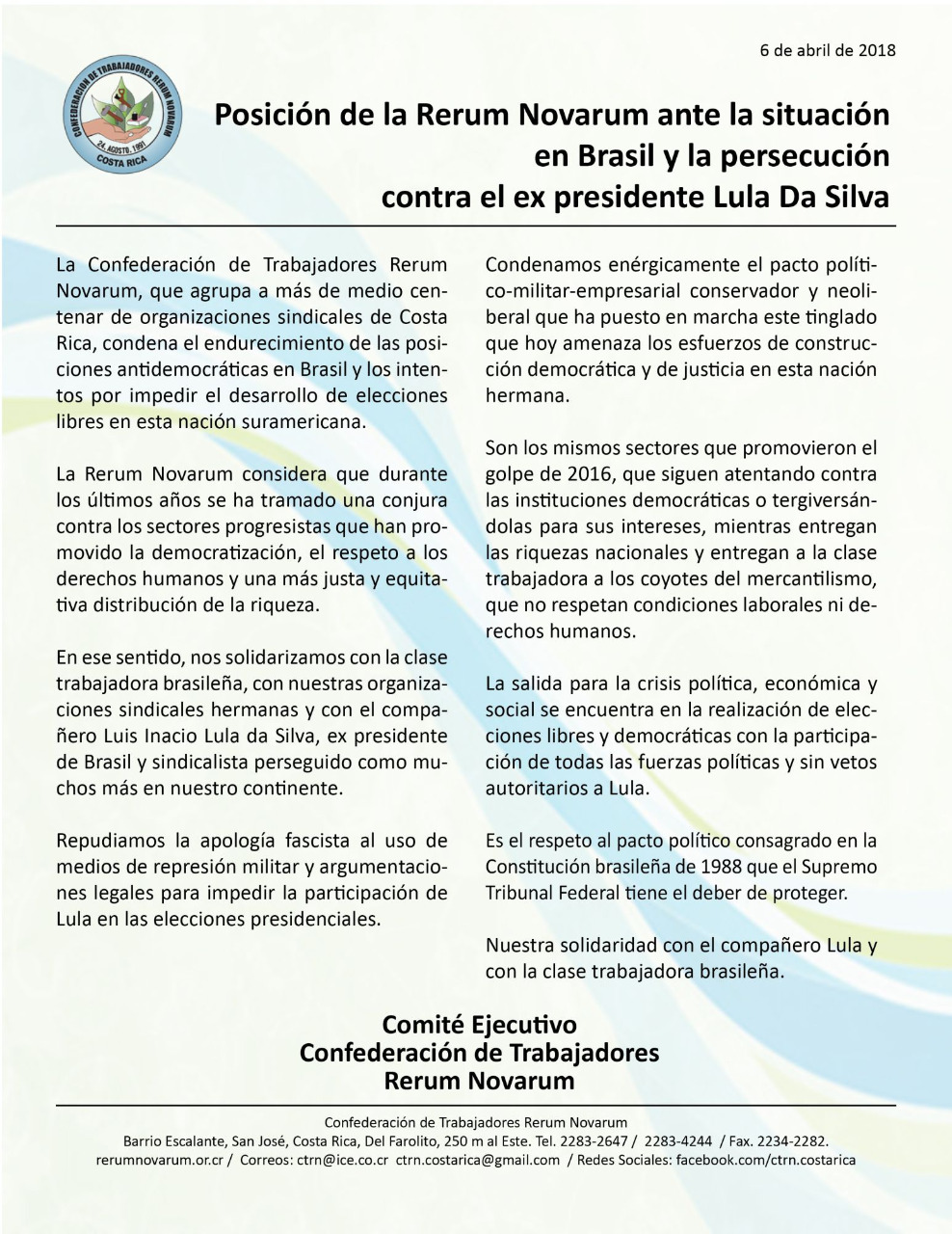 Posicion de la Rerum Novarum ante la situacion en Brasil y la persecucion contra el ex presidente Lula Da Silva