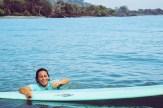 belinda off boat smile
