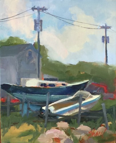 "boat and truck painted on block Island,8""x10"" oil on linen"